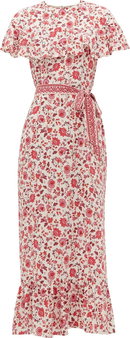 Beulah Peony Teaberry Sailee floral-print silk dress