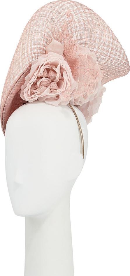 Philip Treacy Halo Straw Hat w/ Rosettes & Lace