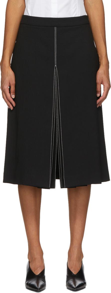 Partow Black Wool Bay Mid-Length Skirt