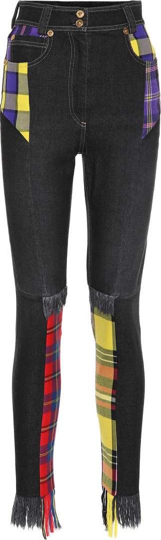 Versace Plaid patchwork skinny jeans