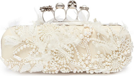 Alexander McQueen Faux pearl embellished leather knuckle clutch