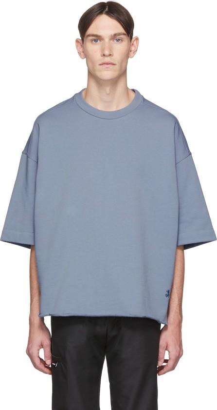 Jil Sander Blue Three-Quarter Sleeve Sweatshirt