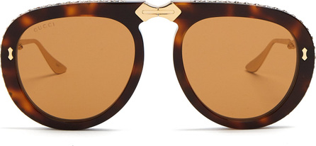 Gucci Round-frame foldable acetate sunglasses