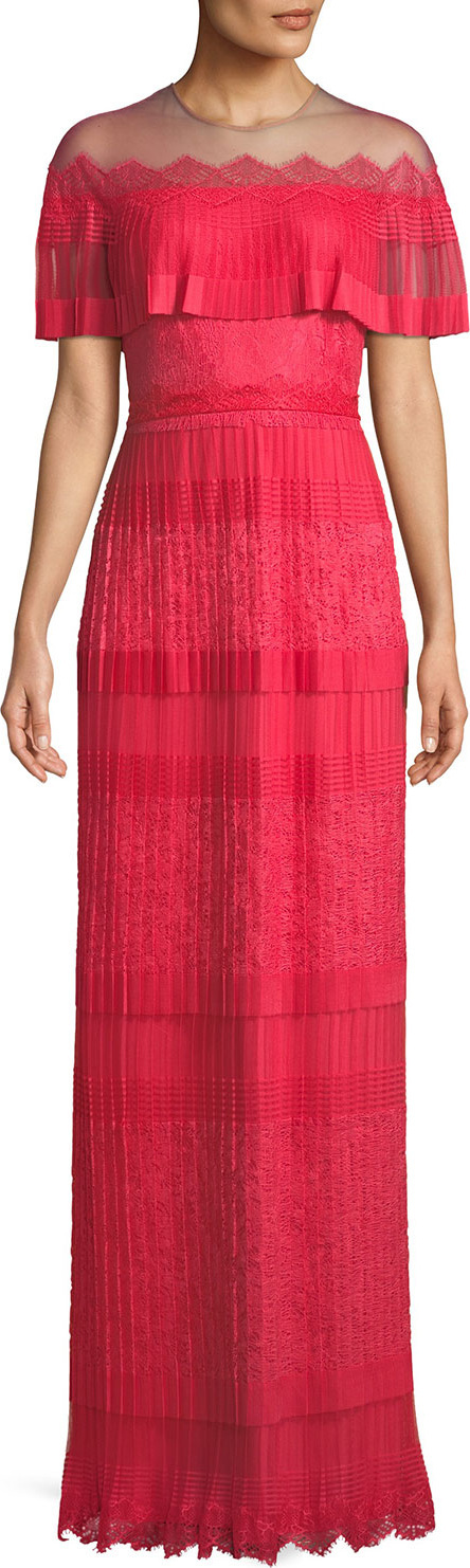 Tadashi Shoji Tristan Pleated Illusion Lace Gown