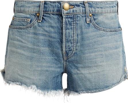 THE GREAT. Raw-hem mid-rise denim shorts
