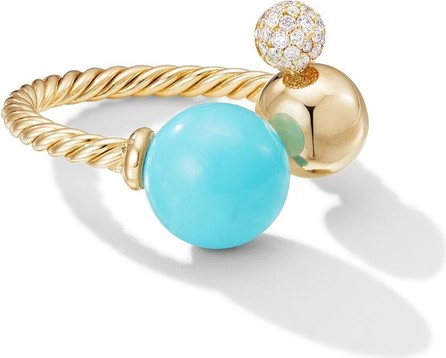 David Yurman 18kt yellow gold Solari turquoise and diamond open cluster ring