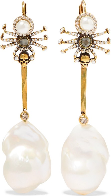 Alexander McQueen Gold-tone, crystal and faux pearl earrings