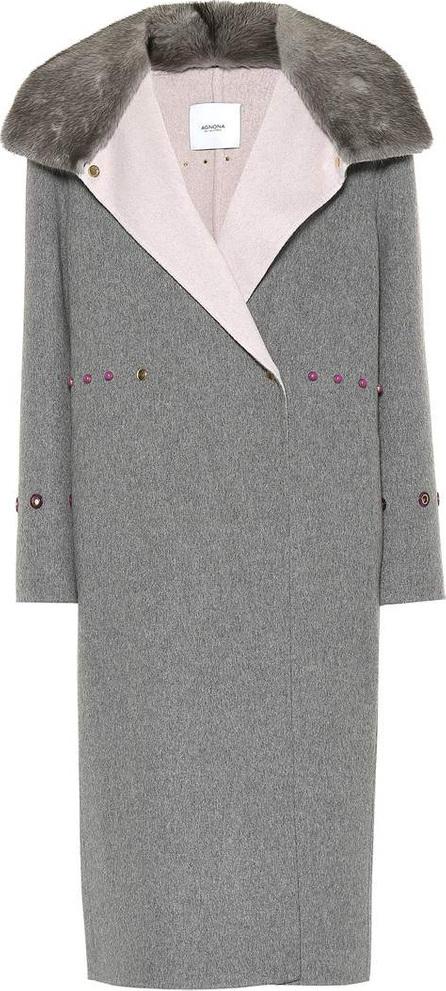 Agnona Fur-trimmed cashmere coat