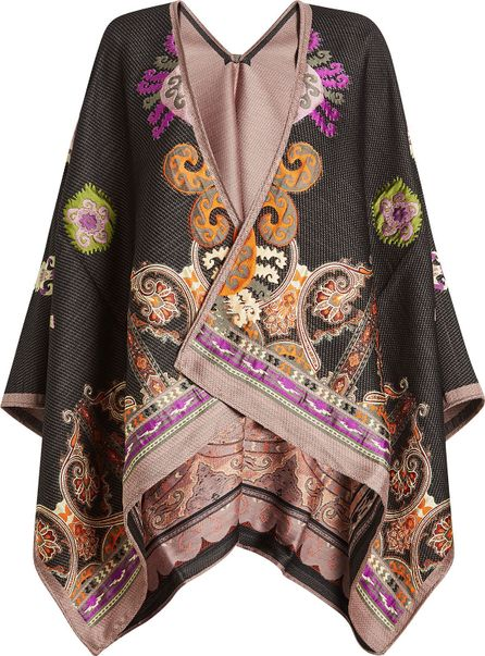 Etro Printed Cape with Wool and Silk