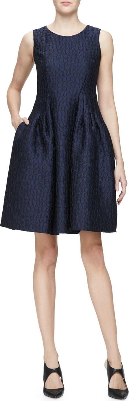 Armani Collezioni Sleeveless Fit-&-Flare Dress, Indigo/Multi