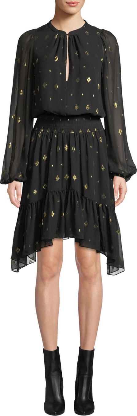 A.L.C. Sidney Long-Sleeve Metallic Flounce Dress