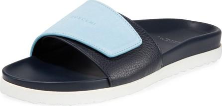 Buscemi Men's Scratch Leather Slide Sandals