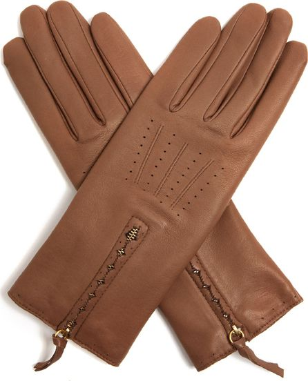 Agnelle Zip-cuff leather gloves