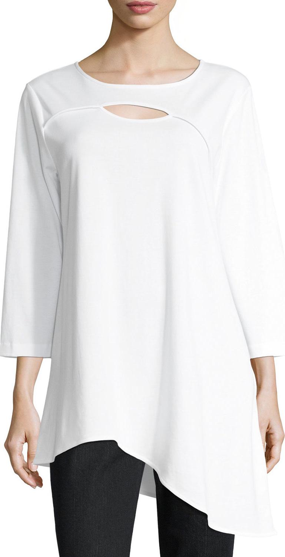 Joan Vass - Yoke-Cutout Asymmetric Easy Tunic