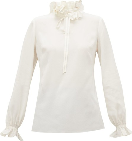 Goat Irving ruffle-collar silk crepe de Chine blouse