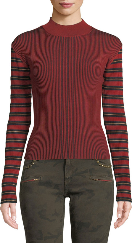 McQ - Alexander McQueen Striped Ribbed Long-Sleeve Pullover Sweater