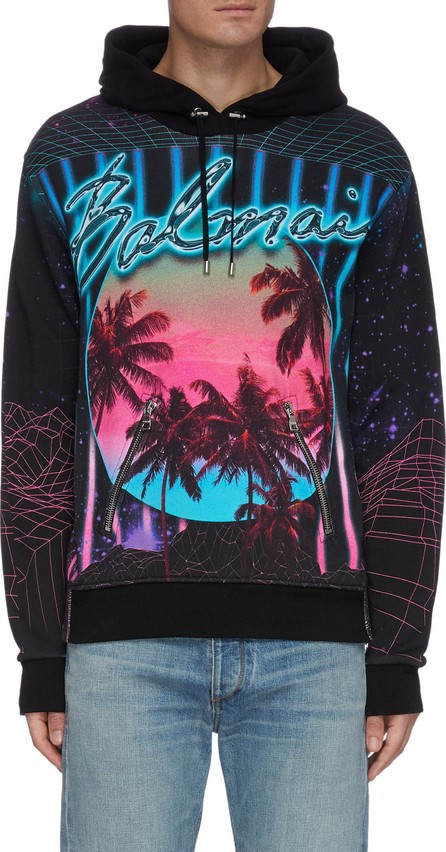 Balmain Palm trees graphic print hoodie