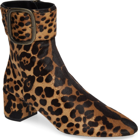 Saint Laurent Leopard Genuine Calf Hair Buckle Bootie