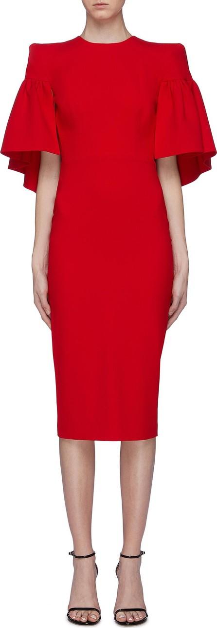 Alex Perry 'Coralie' drape panel ruffle sleeve crepe dress