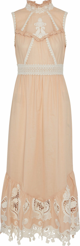 Anna Sui Open-back giupure lace-paneled cotton-poplin midi dress