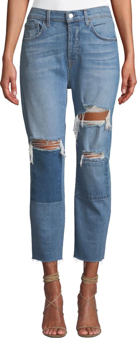 7 For All Mankind Josephina High-Waist Straight-Leg Patchwork Jeans w/ Raw-Edge Hem