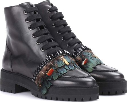 ROCHAS Embellished leather ankle boots