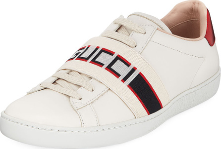 Gucci Logo-Band Leather Low-Top Sneakers