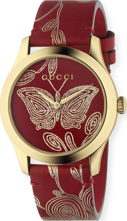 Gucci G-Timeless Embroidered Butterfly Watch w/ Leather Strap