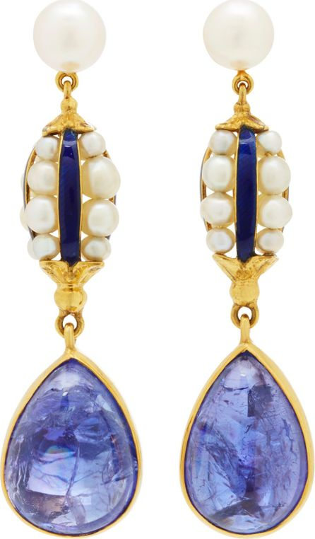 Brigid Blanco 18K Yellow Gold, Blue Enamel and Pearl Antique Earrings