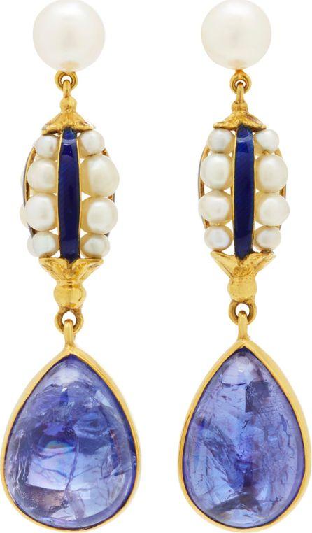Brigid Blanco 18K Yellow Gold, Blue Enamel and Pearl Antique Earrings