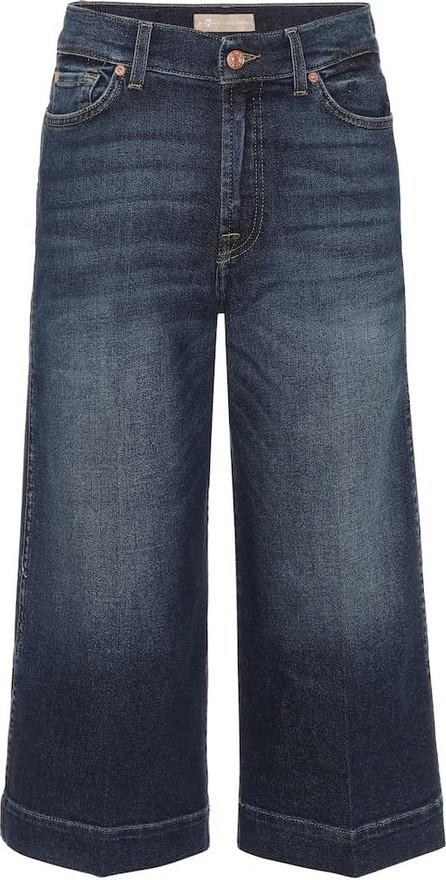 7 For All Mankind Mid-rise wide-leg denim culottes