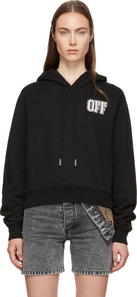 Off White Black Lips Cropped Hoodie