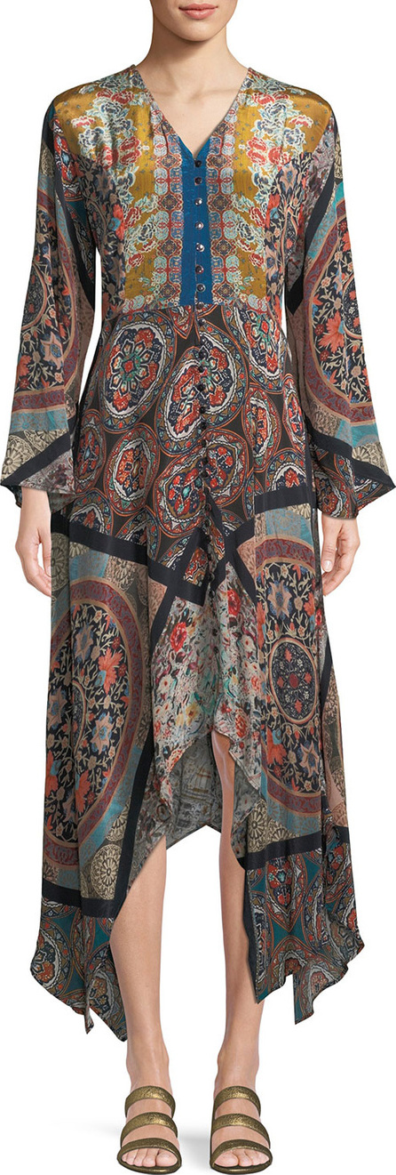 577756410ec3e2 Tolani Clara V-Neck Button-Front Long-Sleeve Mixed-Print Maxi Dress