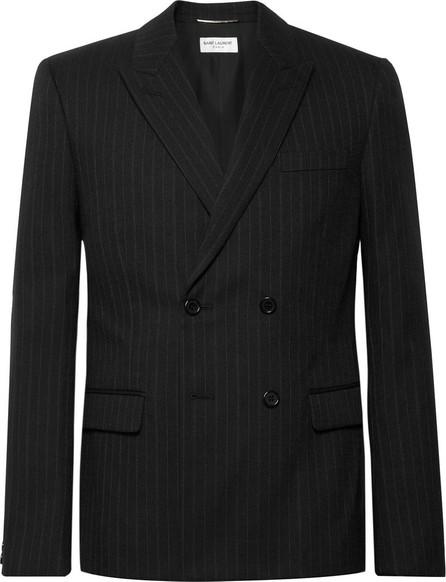 Saint Laurent Black Slim-Fit Double-Breasted Pinstriped Wool-Blend Blazer
