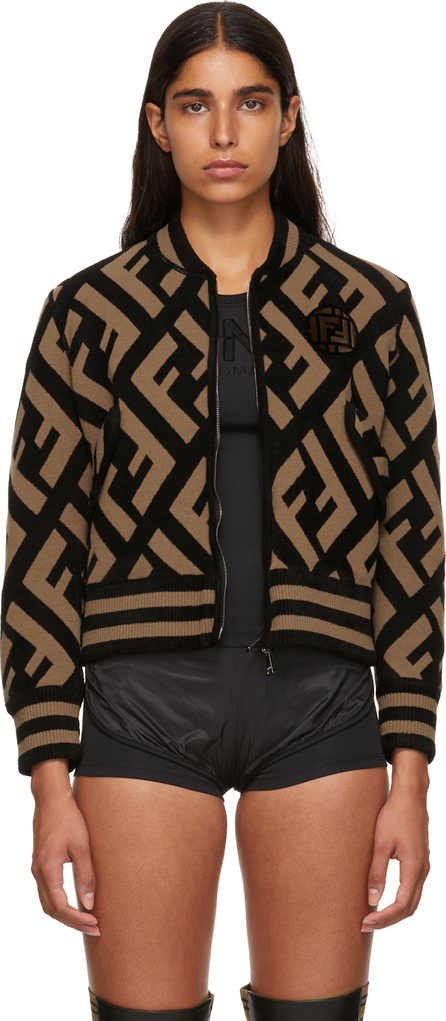 Fendi Reversible Brown & Black FF Bomber Jacket