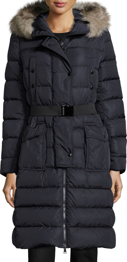 Moncler Khloe Quilted Puffer Coat w/Fur Hood