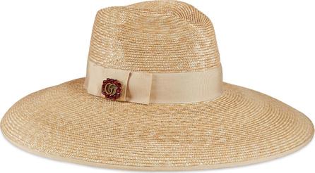 Gucci Crystal Embellished Wide Brim Straw Hat