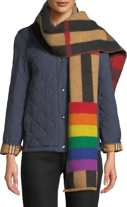 Burberry London England Rainbow Reversible Mega Check Cashmere Scarf