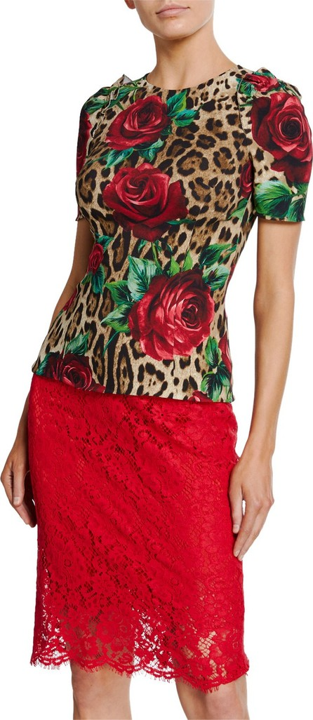Dolce & Gabbana Rose & Leopard Print Short-Sleeve T-Shirt