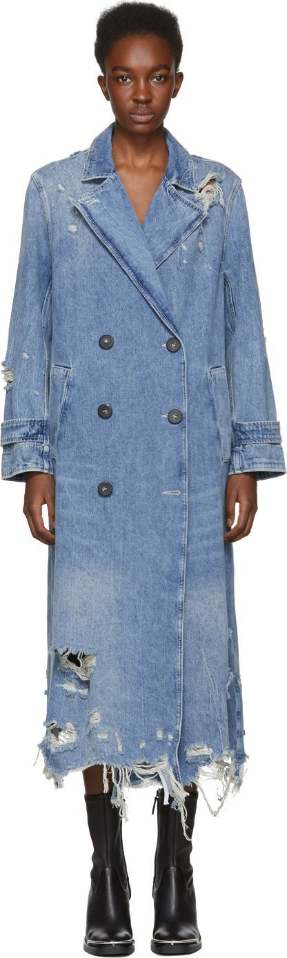 Alexander Wang Indigo Denim Trench Coat