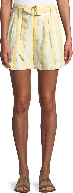 FRAME DENIM Striped Belted Linen Shorts