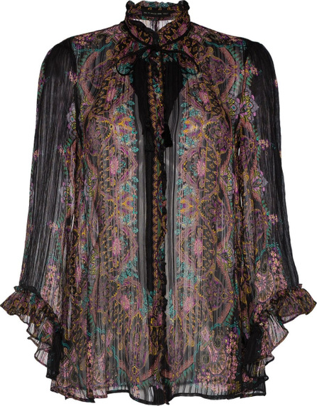 Etro Tie Neck Silk Ruffle Blouse