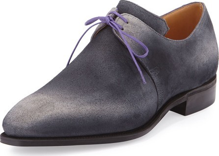 Corthay Arca Suede Derby Shoe with Flint Patina & Purple Piping, Grey