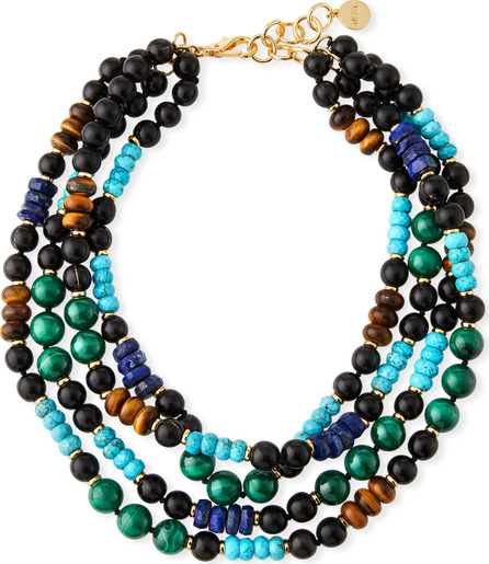 NEST Jewelry Multi-Strand Beaded Necklace with Malachite & Turquoise