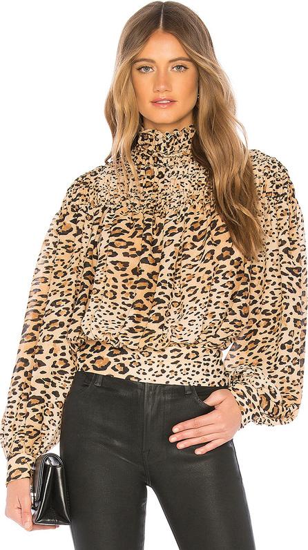 FRAME DENIM Smocked Cheetah Blouse