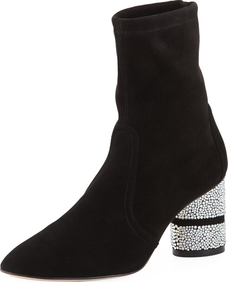 Stuart Weitzman Flash Sock 75mm Booties w/ Crystal Heel
