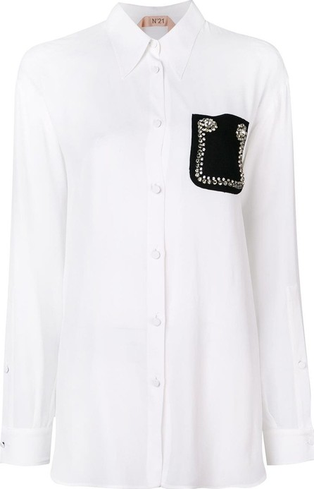 Nº21 Embellished pocket shirt