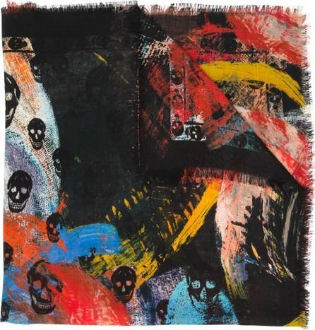 Alexander McQueen Painted skull scarf