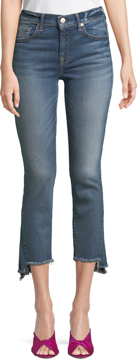 7 For All Mankind Cropped Skinny Jeans with Asymmetric Hem