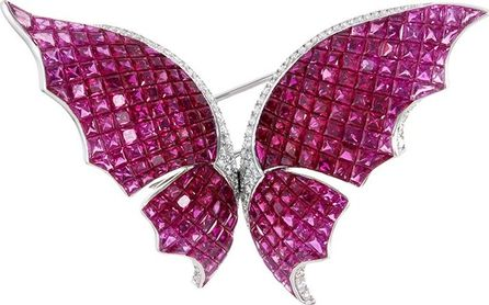 Anyallerie Diamond ruby sapphire 18k white gold butterfly brooch